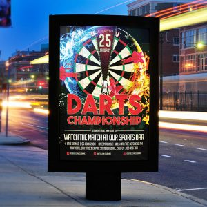 Darts Championship - Premium Flyer Template + Facebook Cover