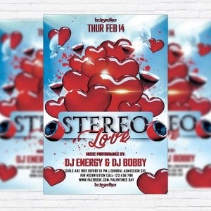 Stereo Love Party - Premium Flyer Template + Facebook Cover