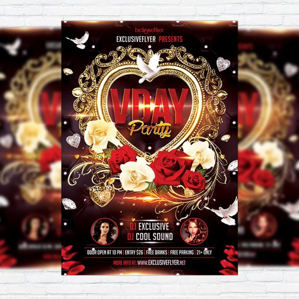 Valentines Day Party - Premium Flyer Template + Facebook Cover