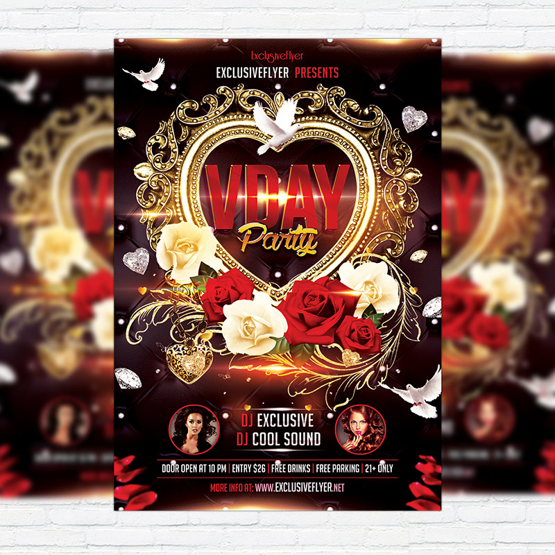 Valentines Day Party Premium Flyer Template Facebook Cover