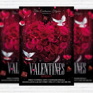 Exclusive Valentines Night - Premium Flyer Template + Facebook Cover