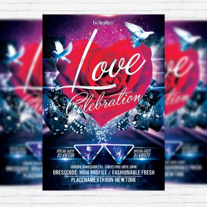 Love Celebration - Free Club and Party Flyer PSD Template
