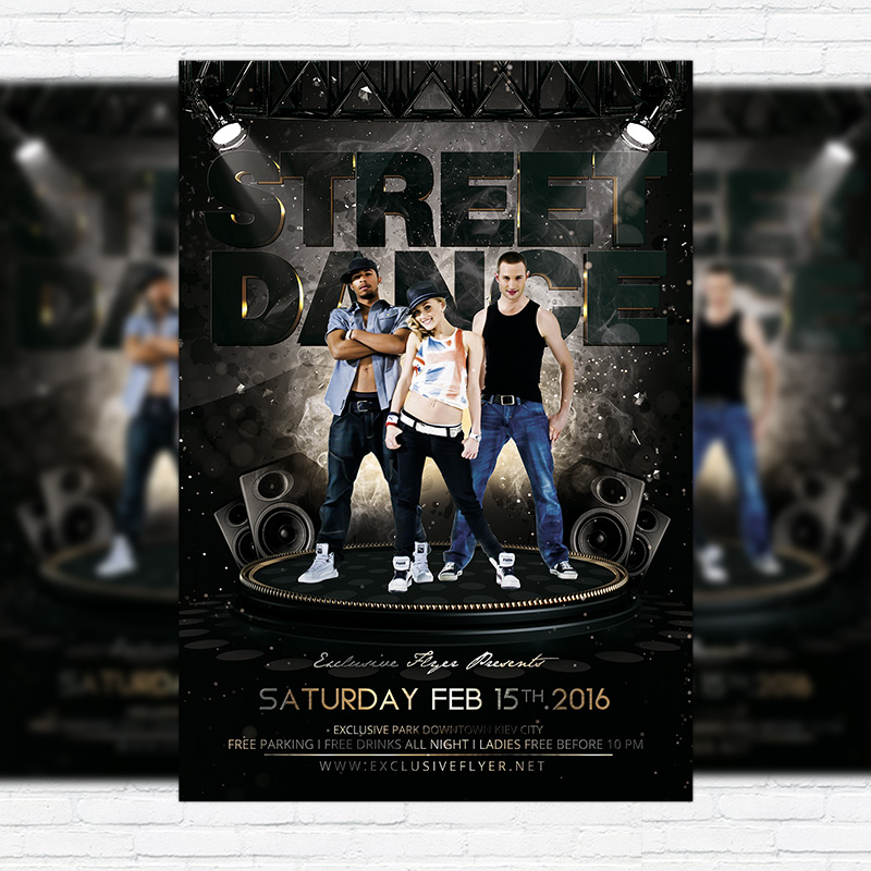 street dance premium flyer template facebook cover