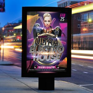 Ultra Electro House Night - Premium Flyer Template + Facebook Cover