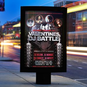 Valentines Dj Battle - Premium Flyer Template + Facebook Cover