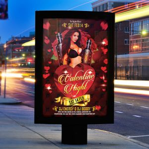 Valentines Night Party - Premium Flyer Template + Facebook Cover