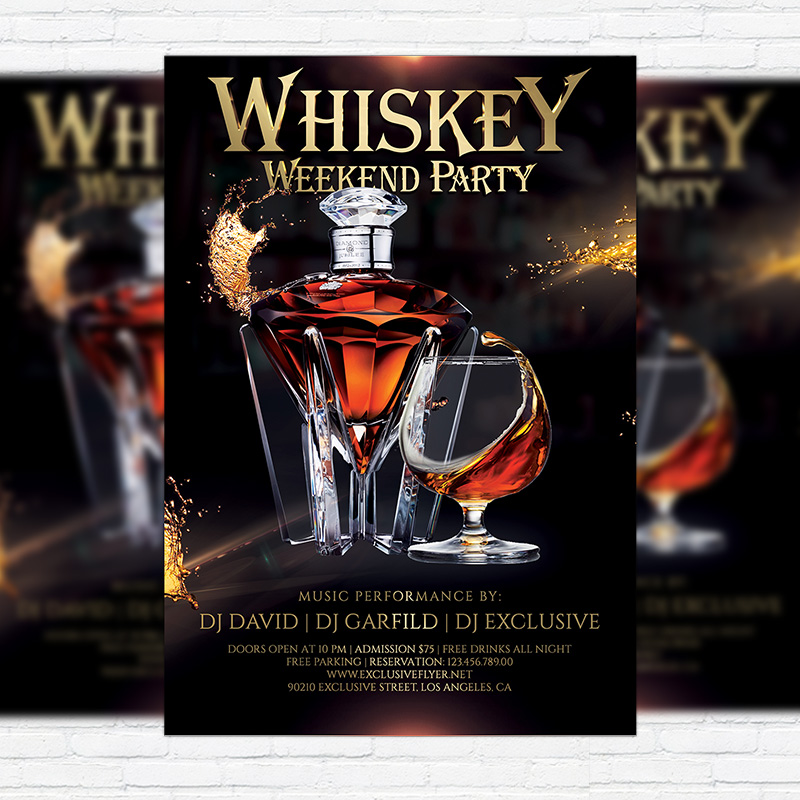 whiskey weekend party  u2013 premium flyer template   facebook cover