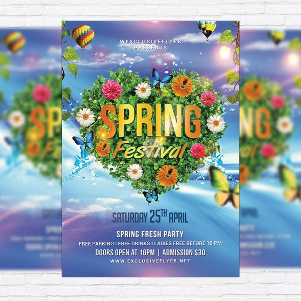 Spring Festival Night - Premium Flyer Template + Facebook Cover
