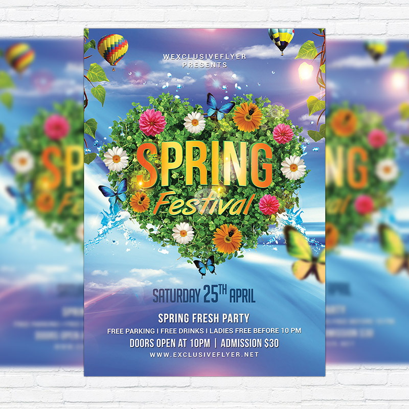 Spring Festival Night  Premium Flyer Template  Facebook Cover