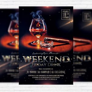 Weekend Friday Drink - Premium Flyer Template + Facebook Cover
