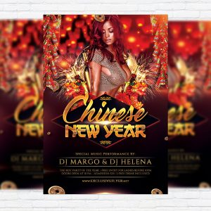Chinese New Year Celebration - Premium Flyer Template + Facebook Cover