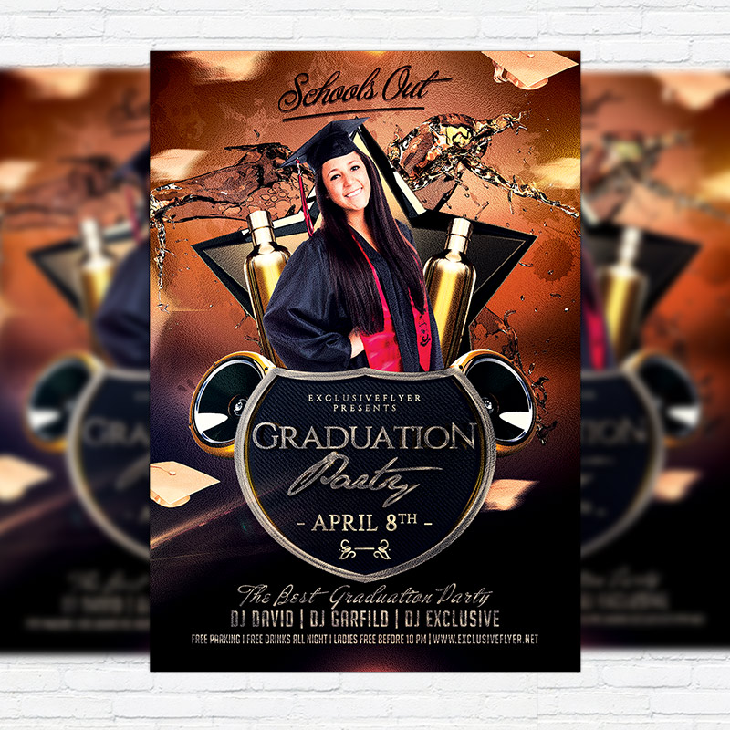 Graduation Party  Premium Flyer Template  Facebook Cover