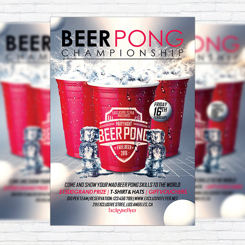 Beer Pong Championship Premium Flyer Template Facebook Cover