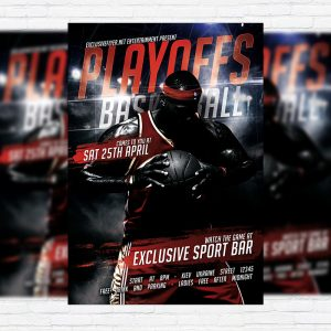 Playoffs Basketball - Premium Flyer Template + Facebook Cover