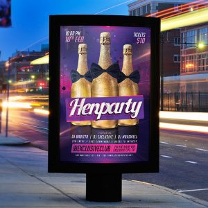 Henparty - Premium Flyer Template + Facebook Cover