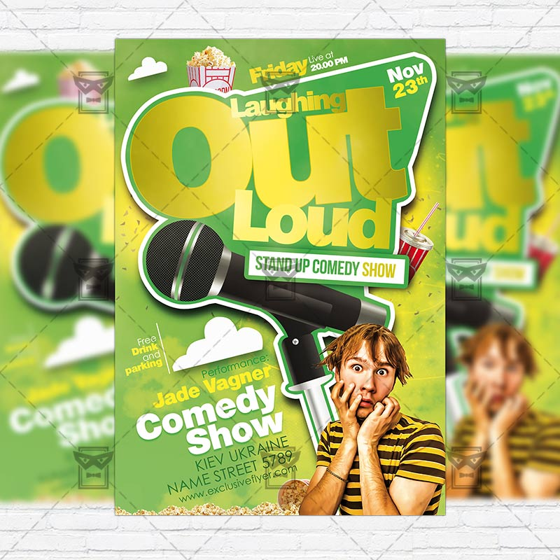 Comedy Show  Premium Flyer Template  Facebook Cover