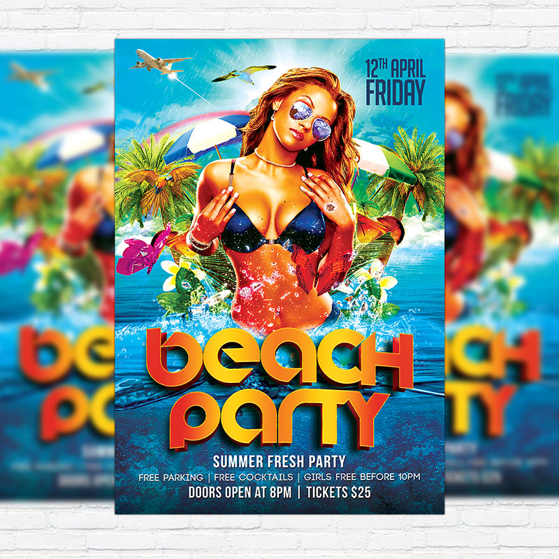 Beach Party  Premium Flyer Template  Facebook Cover