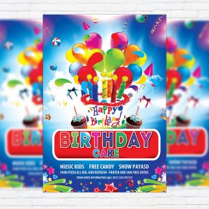 Birthday Cake - Premium Flyer Template + Facebook Cover