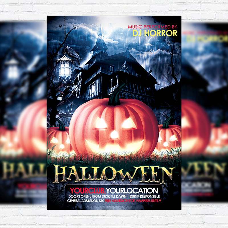 Halloween Night   Premium Flyer Template + Facebook Cover