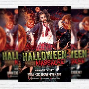 Halloween Massacre - Premium Flyer Template + Facebook Cover