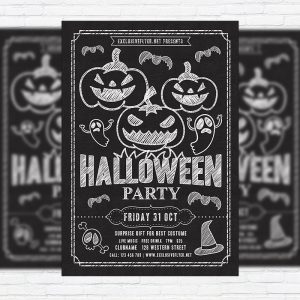 Halloween Party - Premium Flyer Template + Facebook Cover