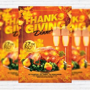 Thanksgiving Dinner - Premium Flyer Template + Facebook Cover