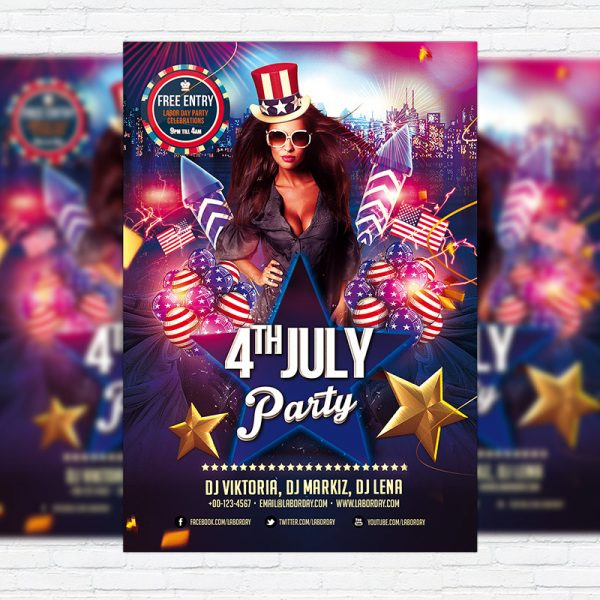 4th Of July Party - Free Club and Party Flyer PSD Template