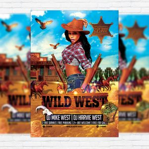 Wild West Party - Premium Flyer Template + Facebook Cover