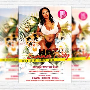 Hot Summer Party - Premium Flyer Template + Facebook Cover