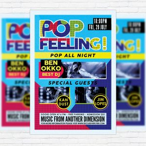 Pop Feeling Music Party - Premium Flyer Template + Facebook Cover