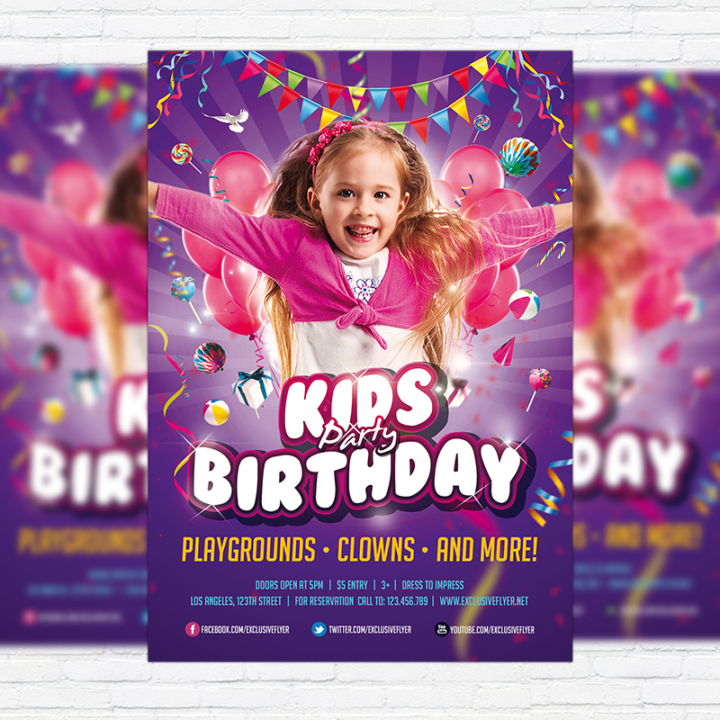 kids birthday party invitation  u2013 premium flyer template