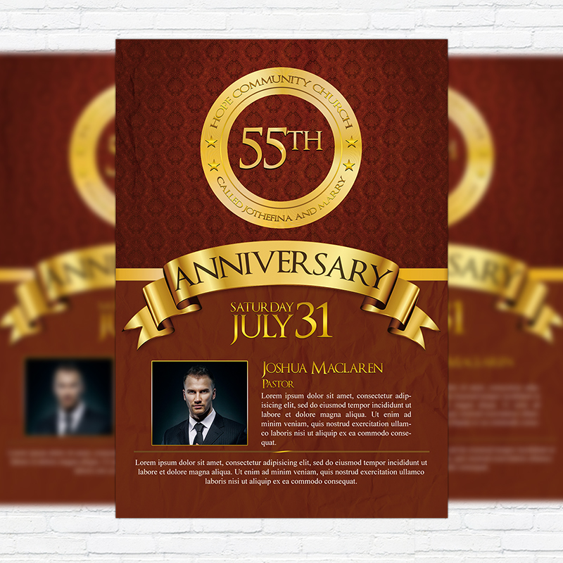 Church Anniversary   Premium Flyer Template + Facebook Cover