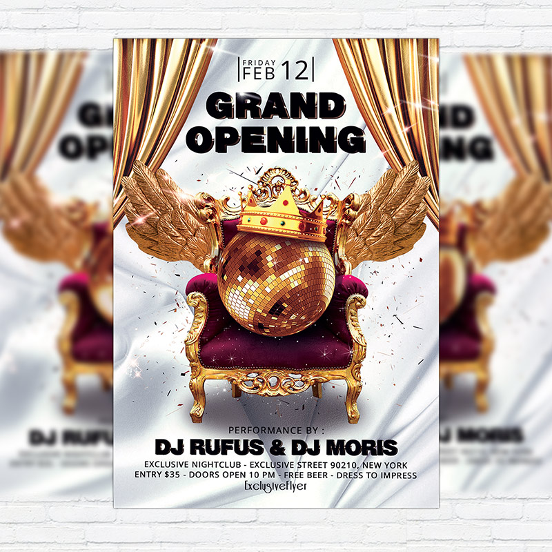 Grand Opening  Premium Flyer Template  Facebook Cover