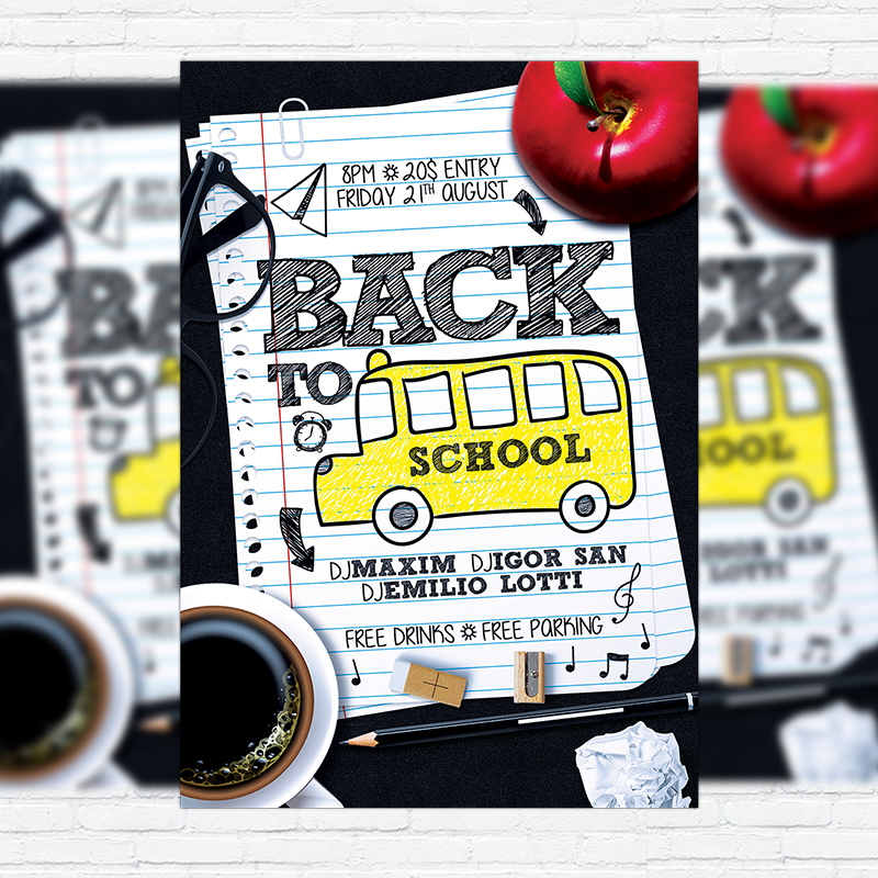 Back To School Vol  Premium Flyer Template  Facebook Cover