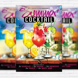 Summer Cocktails - Premium Flyer Template + Facebook Cover