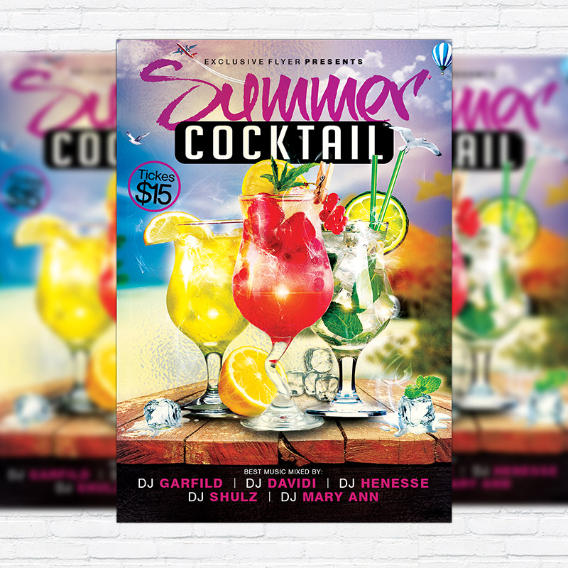 Summer Cocktails  Premium Flyer Template  Facebook Cover