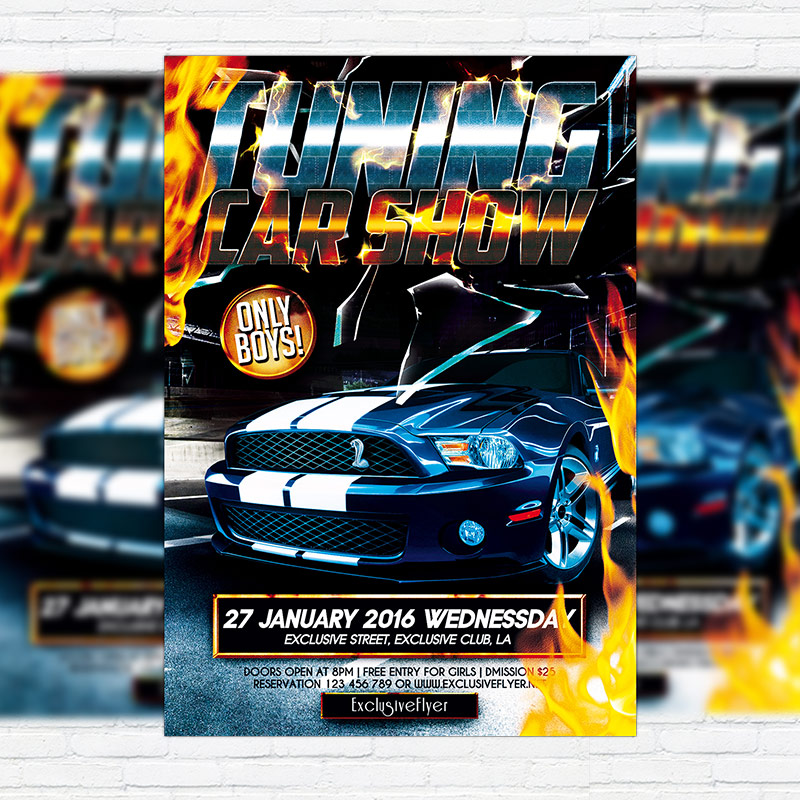 Tuning Car Show  Premium Flyer Template  Facebook Cover