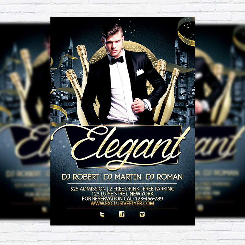 Elegant party free club and party flyer psd template go to free flyers pronofoot35fo Gallery