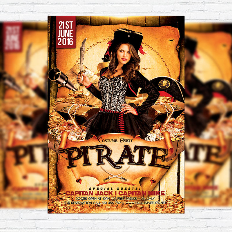 Costume Pirate Party Premium Flyer Template Facebook Cover
