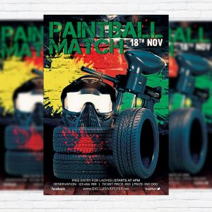 Paintball Match - Premium Flyer Template + Facebook Cover