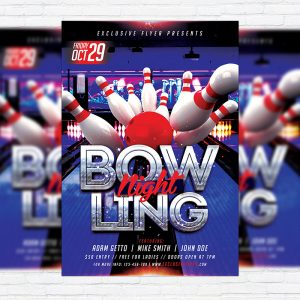 Bowling - Premium Flyer Template + Facebook Cover