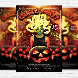 Crazy Halloween - Premium Flyer Template + Facebook Cover