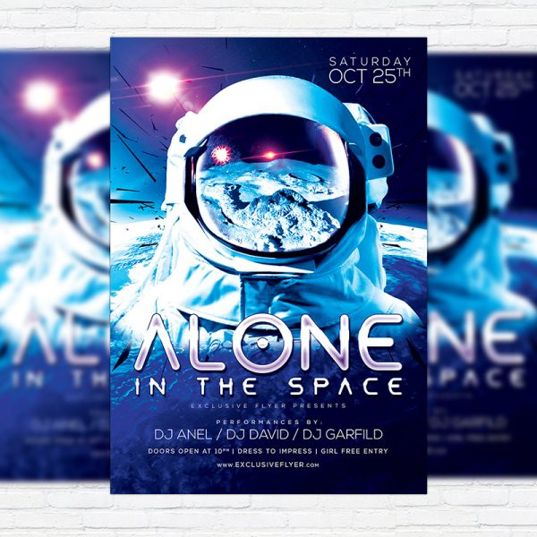 Space Party - Premium Flyer Template + Facebook Cover