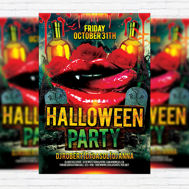 Halloween Scarry Party - Premium Flyer Template + Facebook Cover
