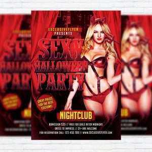 Sexy Halloween Party - Premium Flyer Template + Facebook Cover