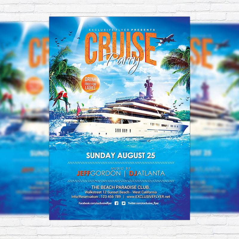 cruise party  u2013 premium flyer template   facebook cover
