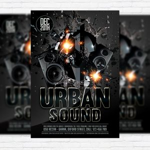 Urban Sound - Premium Flyer Template + Facebook Cover