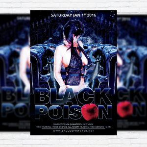 Black Poison Party - Premium Flyer Template + Facebook Cover