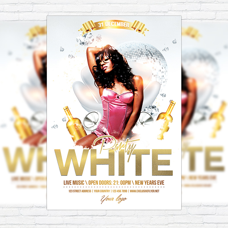 White Party Premium Flyer Template Facebook Cover