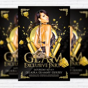 Glam Exclusive Party - Premium Flyer Template + Facebook Cover